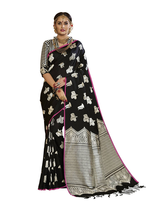 Stylee Lifestyle Women's Banarasi Saree in Black