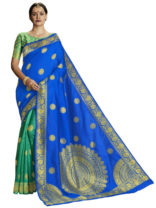 Stylee Lifestyle Women's Banarasi Jacquard Saree in Blue