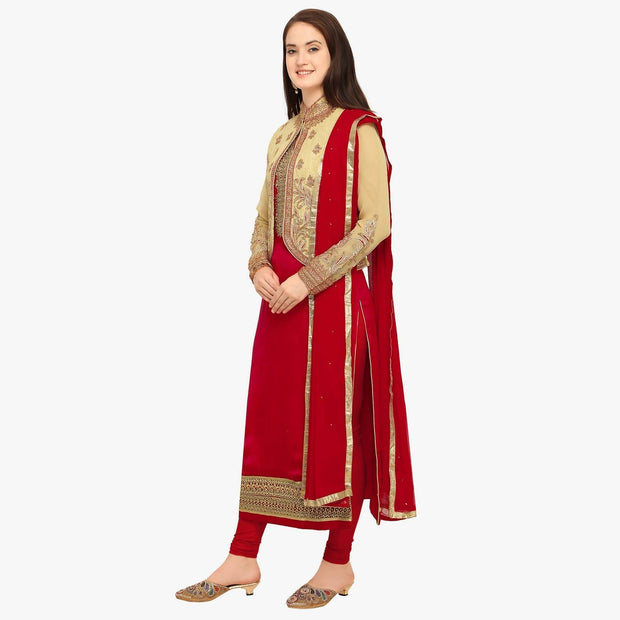 Women's Satin Dress Material in Red