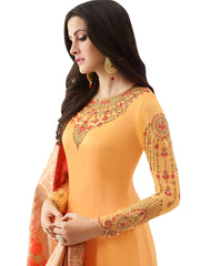 Embroidered Satin Dress Material Set in Yellow