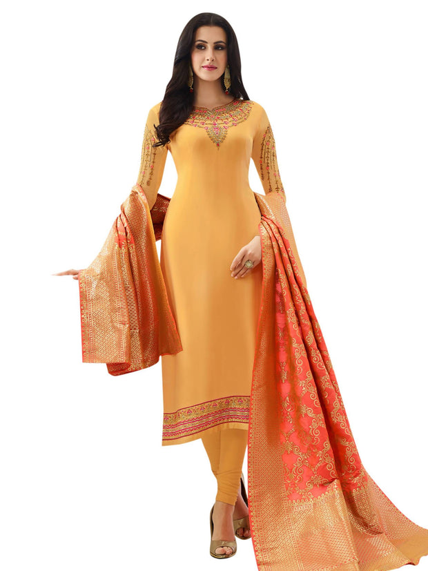 Stylee Lifestyle Women's Embroidered Satin Salwar Suit Set in Yellow