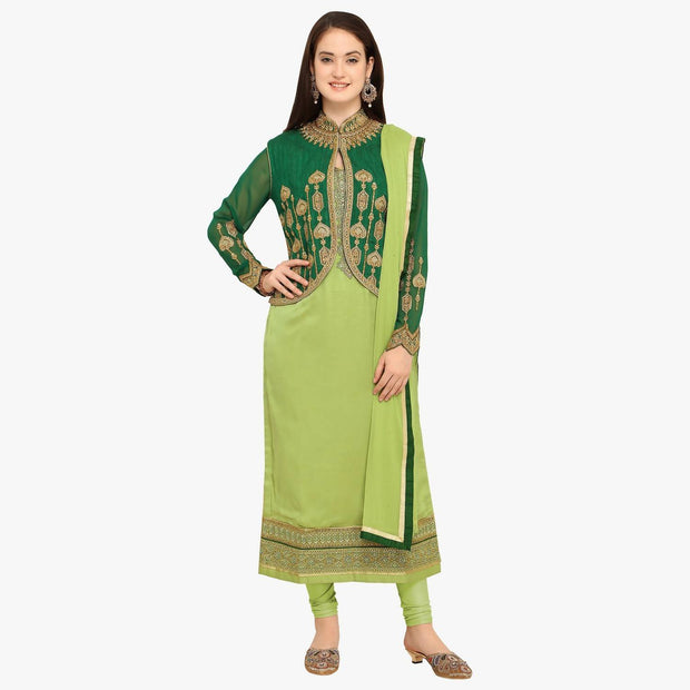 Stylee Lifestyle Women's Satin Dress Material in Green