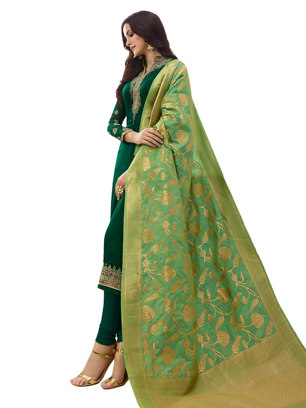 Stylee Lifestyle Women's Embroidered Satin Salwar Suit Set in Green