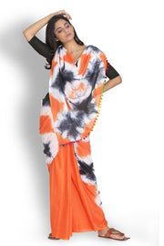 Cotton Tie Dye Saree in Orange