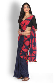 Cotton Tie Dye Saree in Navy Blue and Red