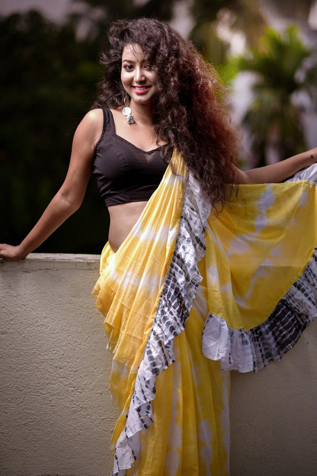 Cotton Tie Dye Saree in yellow
