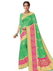 Stylee Lifestyle Women's Banarasi Jacquard Saree in Green