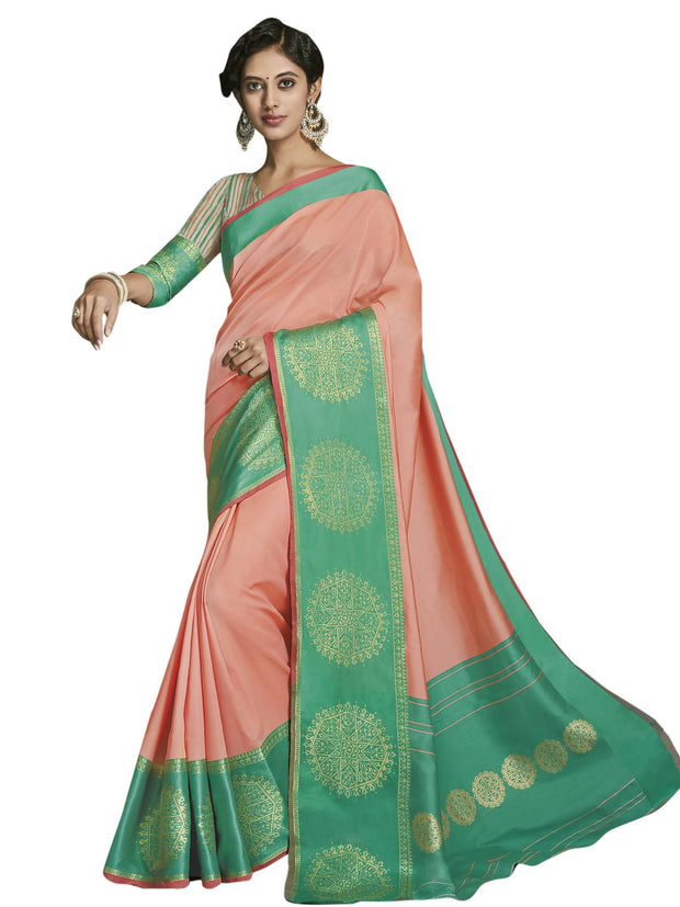 Stylee Lifestyle Women's Jacquard Saree in Orange