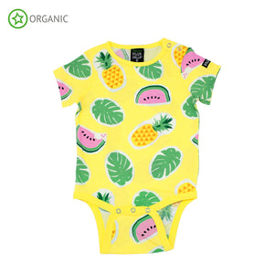 PRICE DROP * Villervalla - S/S Bodysuit - Tropical Fruits - Lemonade