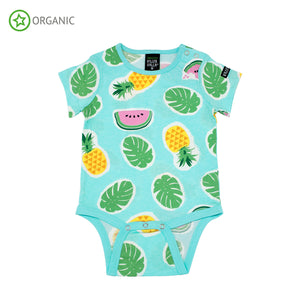 Villervalla - S/S Bodysuit - Tropical Fruits - Light Bay