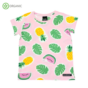 PRICE DROP * Villervalla - SS Tee - Tropical Fruits - Light Azalea
