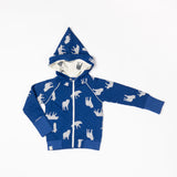Alba - Robin Zip Hoodie - Solidate Blue Playing Wolves