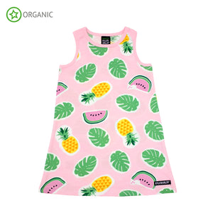 PRICE DROP * Villervalla - Sleeveless Dress - Tropical Fruits - Light Azalea