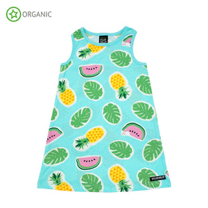 PRICE DROP * Villervalla - Sleeveless Dress - Tropical Fruits - Light Bay