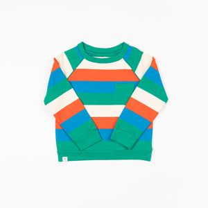 Alba - Happy Sweatshirt - Pepper Green Love Stripes