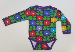 Duns Sweden l/s body suit - Purple Flowers