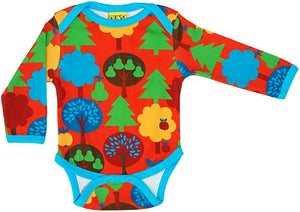 Duns Sweden l/s body suit - Fruit Garden - Red ** LAST SIZE (86)