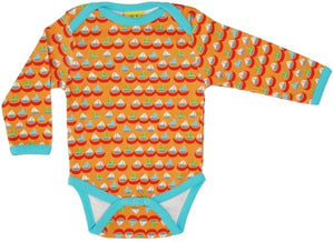Duns Sweden LS body suit - Sailing Boats - Orange