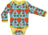 Duns Sweden LS body suit - Strawberry Field - Turquoise