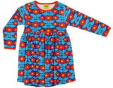 PRICE DROP * Duns Sweden LS Dress with Gathered Skirt - Kurbits - Blue