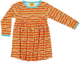 Duns Sweden LS Dress with Gathered Skirt - Sailing Boats - Orange