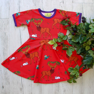 Coddi & Womple - SS Twirl Dress - Cedar in the Berry Bush