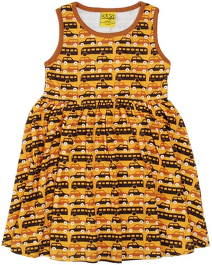 PRICE DROP * Duns Sweden Sleeveless Dress with Gathered Skirt - Buses and Cars
