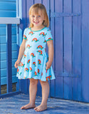Toby Tiger - SS Skater Dress - Rainbow Turtles