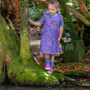 Coddi & Womple - SS Babydoll dress - Rupert in the Rainbow Rain - Lilac