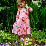 Coddi & Womple - LS Twirl Dress - Cedar in the Berry Bush - Pink
