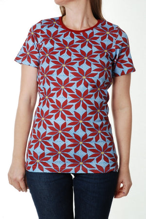 Duns Sweden Adult SS Tee - Poinsettia - Blue