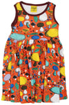 Duns Sweden Sleeveless Dress with Gathered Skirt - Mushroom Forest - Dark Orange