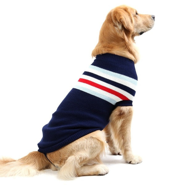 Dog Jumper/Cardigan - Blue and Red Striped Knit