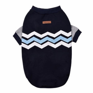 Dog Jumper - Blue and White Chevron print