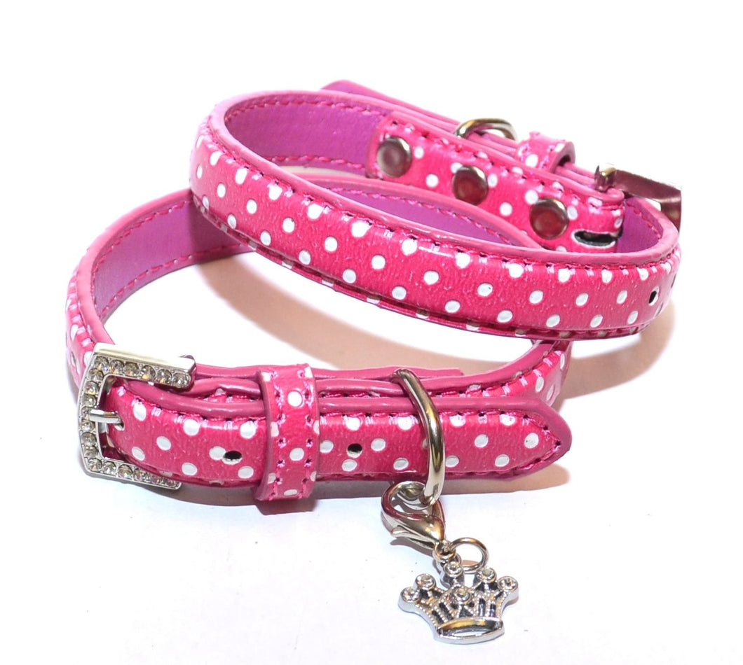 Collar - Pink polka dot with jewelled crown
