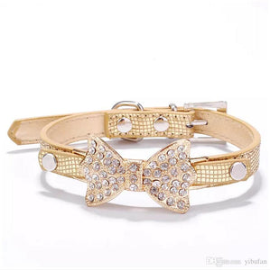 Collar - Gold with diamante bow