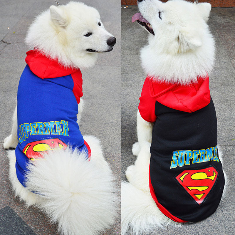 Dog Jumper/Hoodie - Superman - Black or Blue