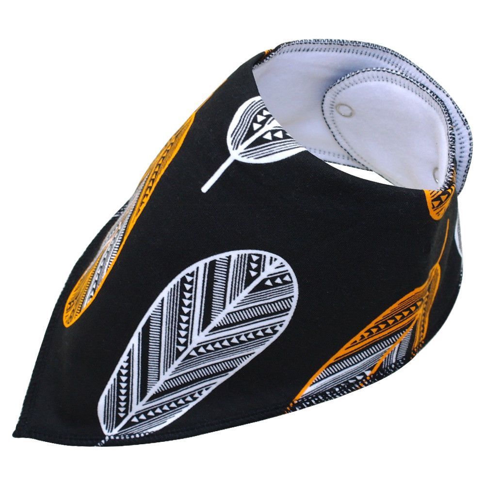 Dog bandana - Black with white and yellow feathers