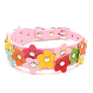 Collar - pink collar with colourful studded flowers