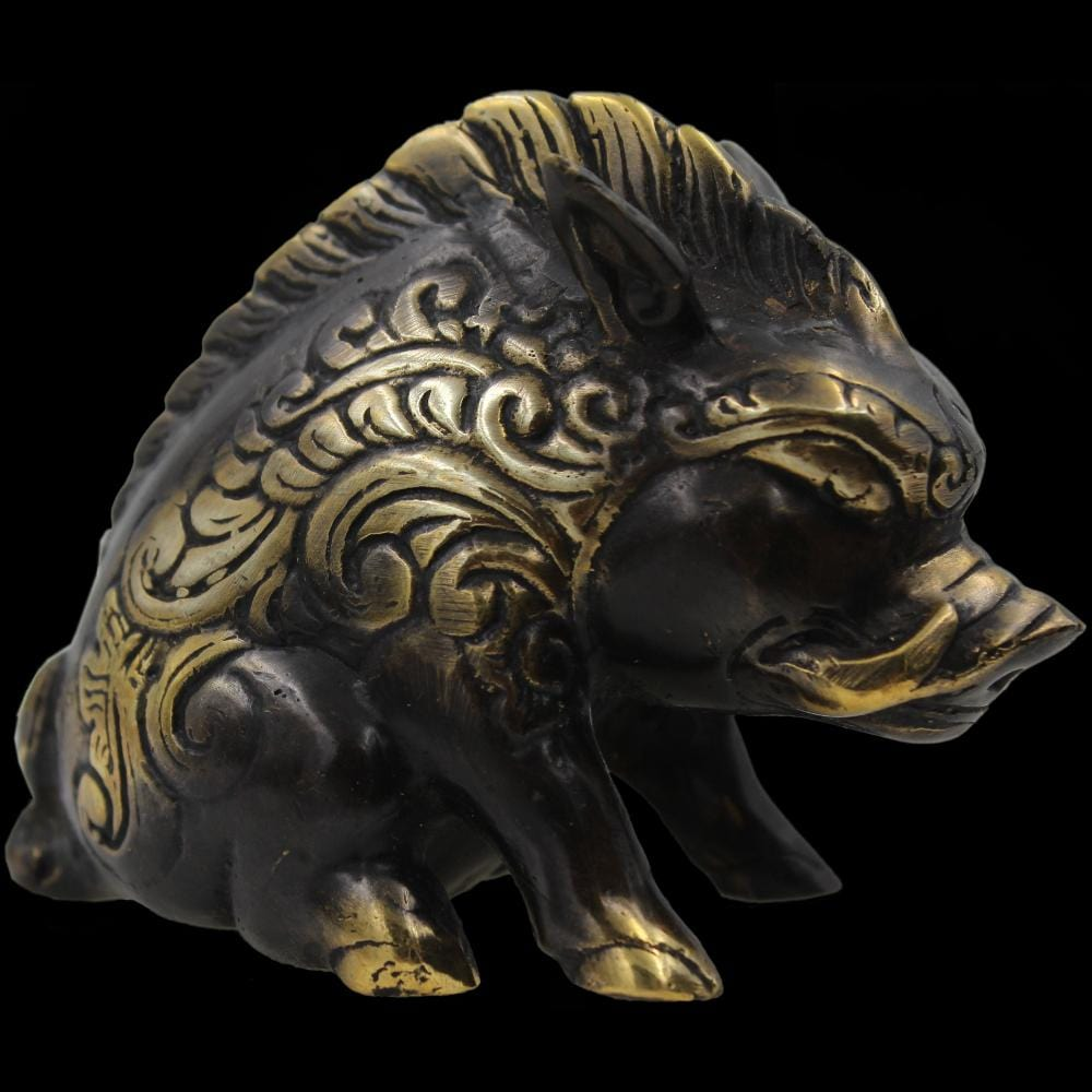 Decorative Bronze Boar Figurine-Handicrafts-Peaceful People