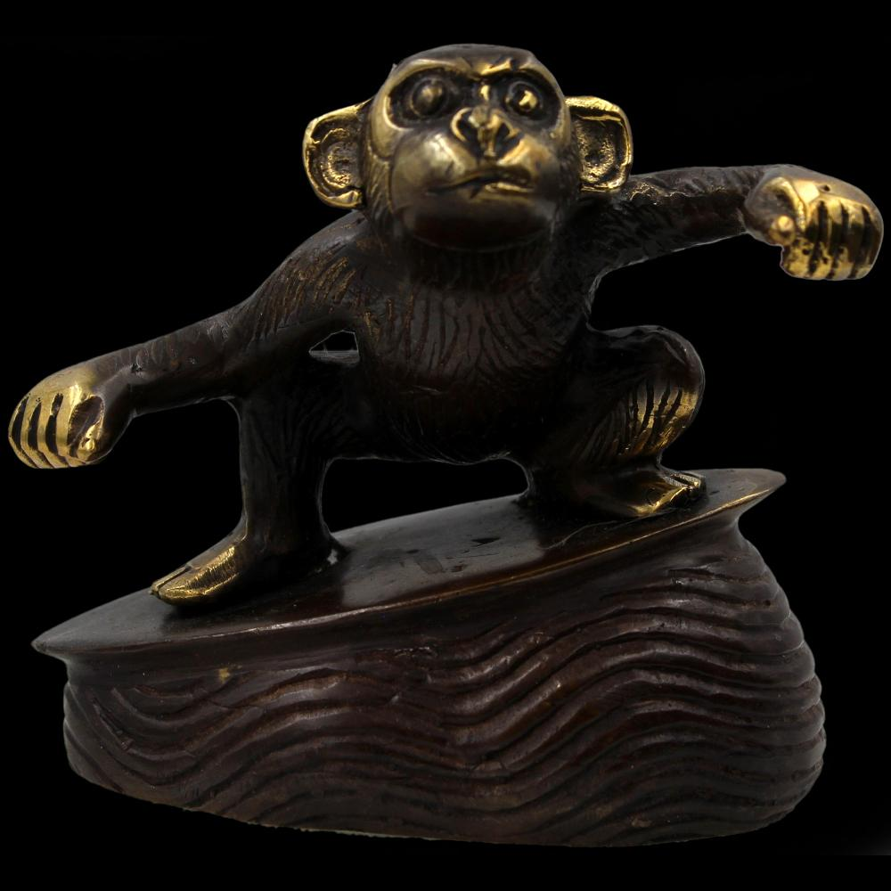 Bronze Surfing Monkey Figurine-Handicrafts-Peaceful People