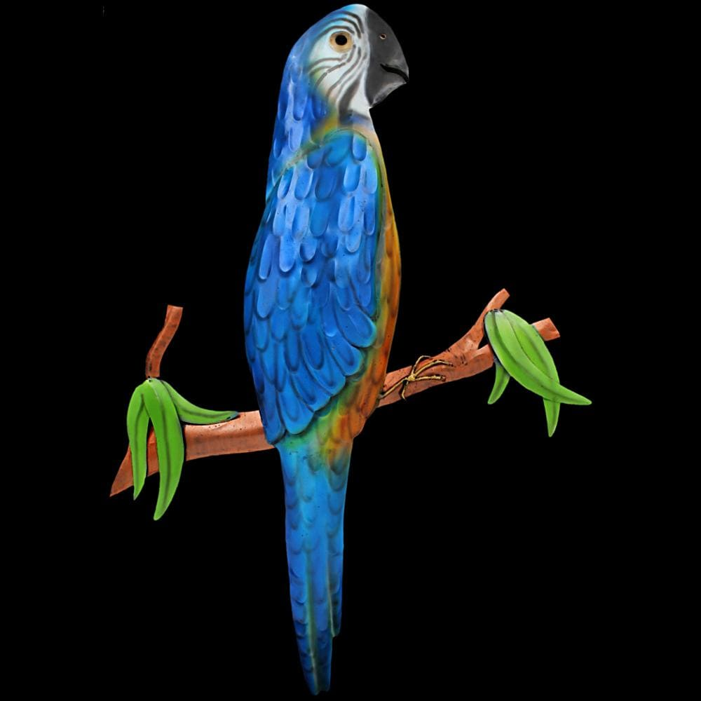 Blue Parrot Metal Wall Decor-Handicrafts-Peaceful People