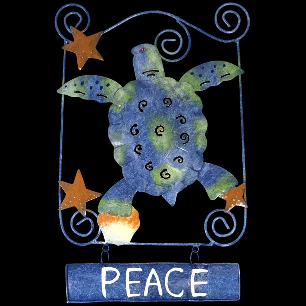 Blue Sea Turtle Peace Sign Metal Wall Hanging-Handicrafts-Peaceful People