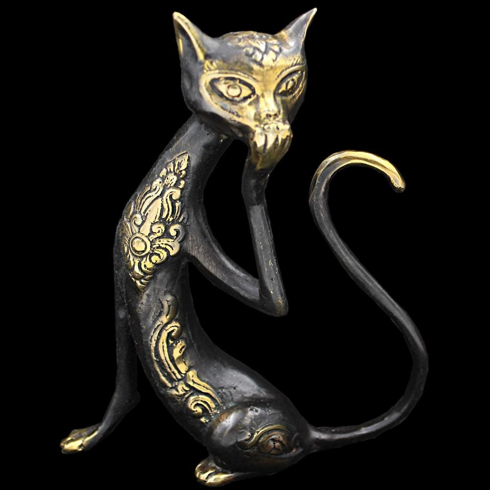Decorative Bronze Cat Figurine-Handicrafts-Peaceful People
