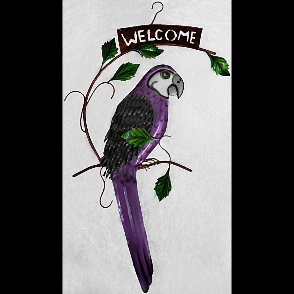 Purple Parrot Hanging Welcome Sign-Handicrafts-Peaceful People