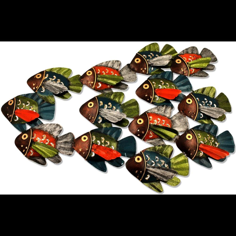Rustic Fish School Metal Wall Hanging-Handicrafts-Peaceful People