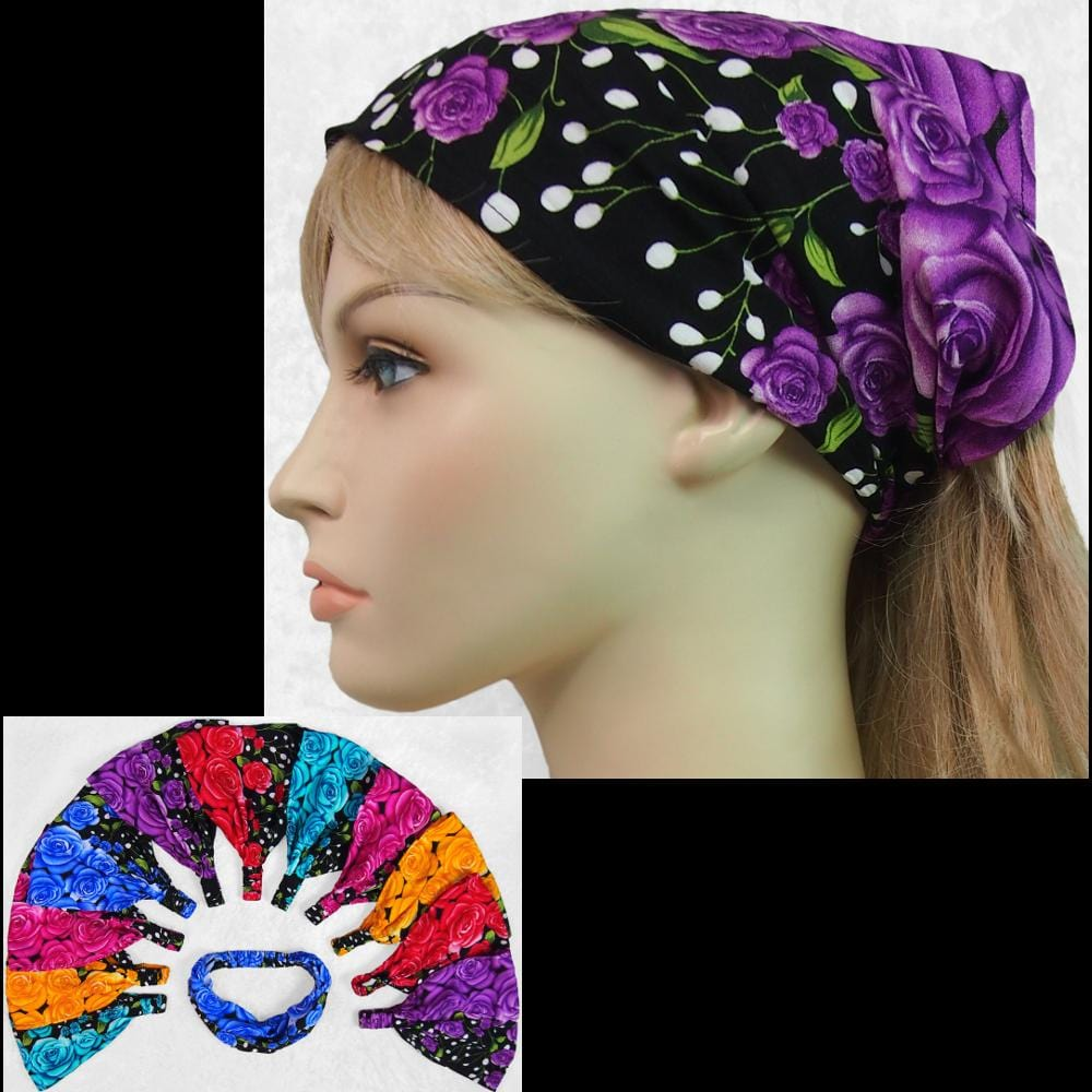 12 Night Rose Elastic Bandana-Headbands ($1.60 each)-Bags & Accessories-Peaceful People