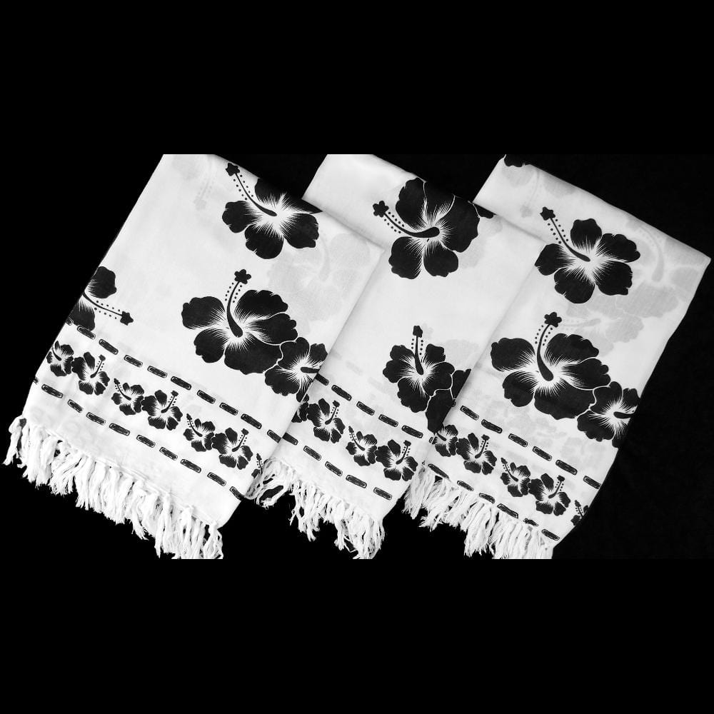 Black and White Hibiscus Sarongs-Sarongs-Peaceful People