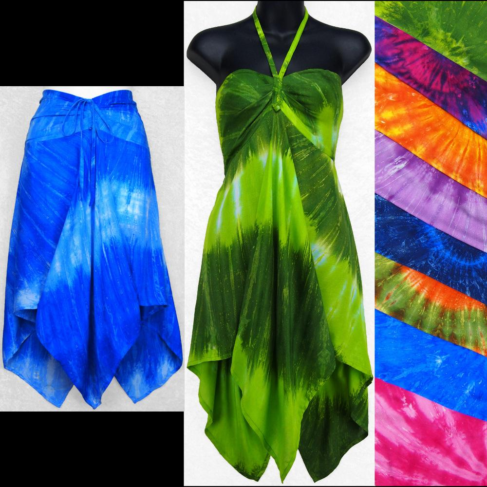 Nebula Tie-Dye Convertible Top/Skirt-Tops-Peaceful People