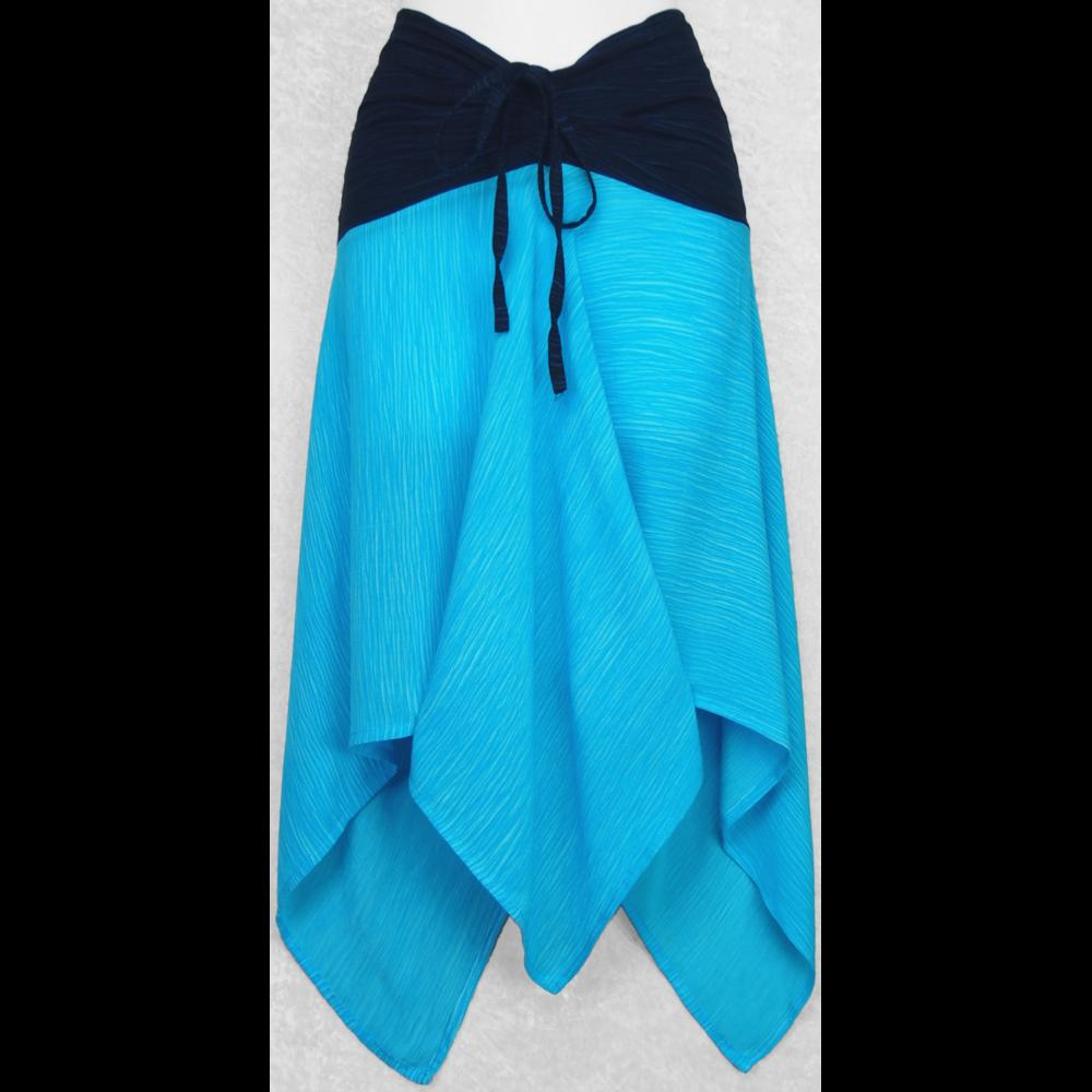 2-Tone-Top Convertible Crinkle Top/Skirt-Tops-Peaceful People